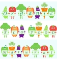 cartoon vegetables with words organic natural vector image