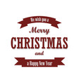 christmas text red ribbon merry christmas and vector image
