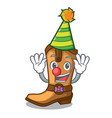 clown leather cowboy boots shape cartoon funny vector image vector image