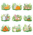 construction process set houses cottages under vector image vector image