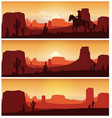 cowboy riding horse against sunset background wil vector image