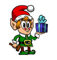 cute christmas elf vector image vector image