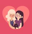 Cute Girls in Love inside Heart vector image