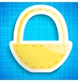 Empty picnic basket icon on blue cloth background vector image
