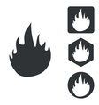 Fire icon set monochrome vector image