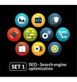 Flat icons set 1 - SEO and Development collection vector image