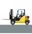 forklift with its driver man mock up side vector image