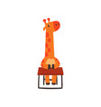 giraffe sitting at the desk cute animal cartoon vector image vector image
