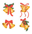 golden christmas bells holiday collection vector image