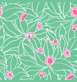 green attern with flowers vector image