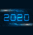 happy new 2020 year futuristic glowing festive vector image vector image