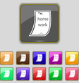 Homework icon sign Set with eleven colored buttons vector image