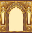 indian ornamented arch color gold vector image