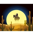 Indian ride horse in desert vector image vector image