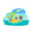 island with palms and bungalow vector image