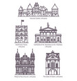 isolated lithuania famous landmarks in thin line vector image vector image
