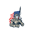 Knight Holding USA Flag Retro vector image vector image