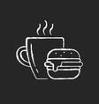 lunch chalk white icon on dark background vector image