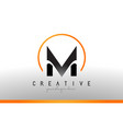 M letter logo design with black orange color cool vector image