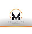 M letter logo design with black orange color cool