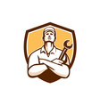 Mechanic Arms Crossed Wrench Shield Retro vector image vector image