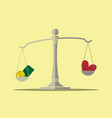 money and love on balance scale vector image vector image
