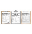 nutrition facts blank template diet vector image vector image