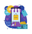 online shopping via smartphone vector image