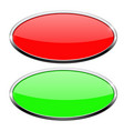 Oval buttons green and red with chrome frame vector image