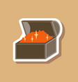 paper sticker on stylish background treasure chest vector image vector image