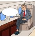 pop art businessman flying airplane vector image