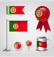 portugal country flag place on map pin steel pole vector image vector image