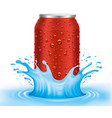 red tin can with water drops standing in water vector image vector image
