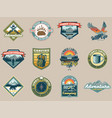 set collection vintage camping travel badges vector image