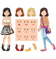 set of girl with different facial expression vector image vector image