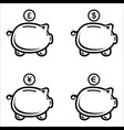 set piggy bank in a flat style piggy bank vector image vector image
