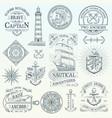set vintage nautical labels vector image