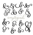 set vintage sign and ampersand on white vector image