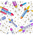 space seamless background with rockets and stars vector image vector image