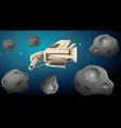 spaceship in asterpid scene vector image vector image