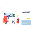 teamwork office workplace landing page template vector image
