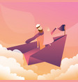 two male female couple fly on paper airplanes at vector image vector image