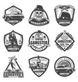 vintage gangster labels set vector image vector image