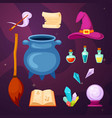 witching magic items set cauldron cooking potion vector image