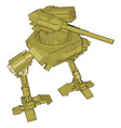yellow war robot on white background vector image vector image