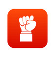 raised up clenched male fist icon digital red vector image