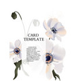 anemone flowers decoration greeting card template vector image vector image