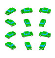 animation of the rotation of the car in isometric vector image