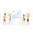 beach volleyball - cartoon people character vector image