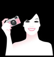 beautiful smiling girl holding a retro photo vector image vector image